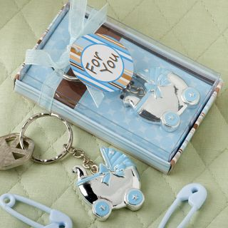 40 Blue Baby Carriage Design Key Chain Baby Christening / Baby Shower