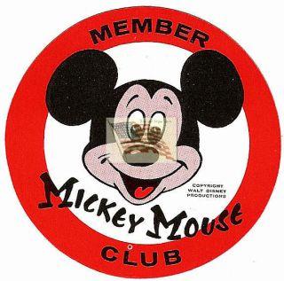 Mickey Mouse Club Sticker Disney Red White Black 1950S