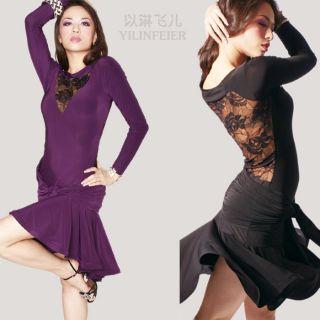 New Latin Salsa Tango Ballroom Dance Dress Long Sleeve Dress S8058