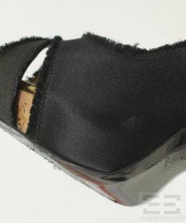 Barbara Bui Black Satin & Cork Platform Peep Toe Heels Size 38