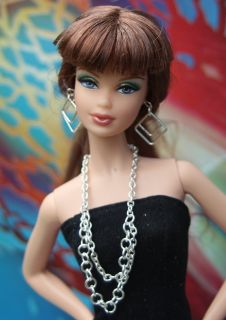 Silver Chain Necklace Earrings Jewelry Set for Barbie Doll
