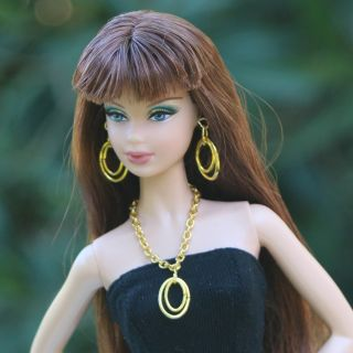 Golden Chain Necklace Hoop Earrings Jewelry Set for Barbie Doll