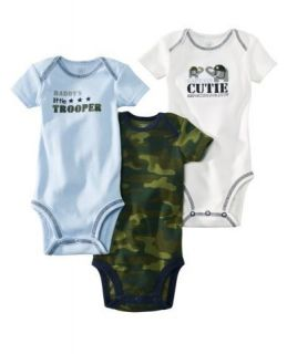Carters Baby Boy Clothes 3 Bodysuits White Blue Camouflage Size