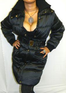 Baby Phat Goth Punk Urban Satiny Trench Coat Black Long Jacket 2X