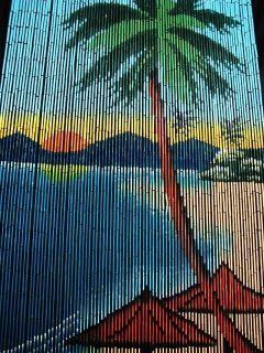 Natural Bamboo Door Window Divider Beaded Curtain Umbrella Palm Tree