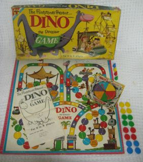 The Dinosaur Board Game Flintstones Hanna Barbera Transogram