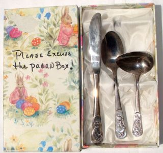 Rabbit Silver Plated Cutlery for Baby Marked Grenadier England