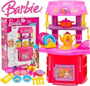 Kitchen Role Play Toy Set Girls Barbie Fun Chef Unit Gift 16 Pcs
