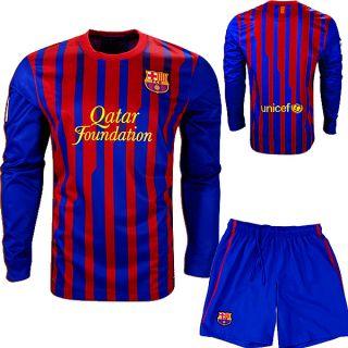 Barcelona 2012 Home Long Sleeve Soccer Uniform Kit
