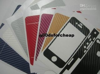 White Carbon Fiber Skin Sticker Full Body Protector for iPhone 4 USA