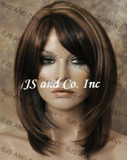 Straight Layered Brown Auburn Blonde Mix Wig w Bangs RS30