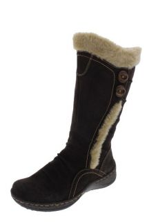 Bare Traps New Elister Brown Suede Ruched Faux Fur Lined Mid Calf