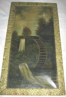 Antique Oil Painting Wood Art Frame Water Mill Country Rural Stone