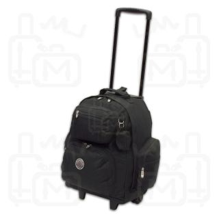 New 18 Rolling Wheeled Backpack Bookbag Black