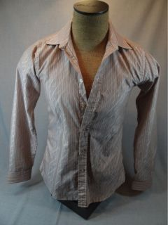 Striped Button Front Shirt, Long Sleeve, Mens Sz M  CHAMS De Baron