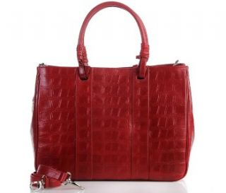 Barr + Barr Croco Embossed Leather Tote ~ Berry Red ~ NWT $229