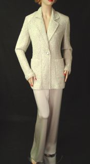 2290 St John Pant Suit Sz 14 Shimmer Eyelash Knit Jacket Liquid Satin