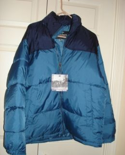NEW Men M Double DOWN Ski Jacket Puffer Navy Blue w/hood Steve