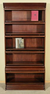Solid Mahogany Walnut Finish Barrister Bookcase Curio Display Cabinet