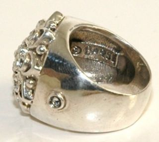 Vintage Barse Heavy Dome Filigree 925 Sterling Silver Clear Stone Ring