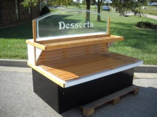 Wooden Bakery Display Rack with Glass Etched Desserts Sign on Top