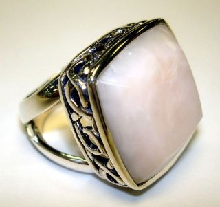 Barse Size 8 Sterling Silver Ring with Scroll Design and Pink Opal