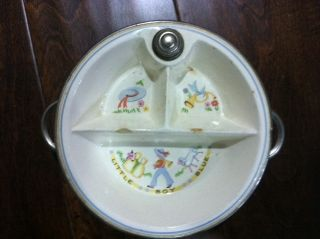 Vintage Antique Child Baby Pottery Bowl Plate with Chrome Bartsch Mfg