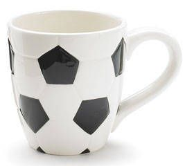 Soccer Ball Ceramic Mug Black White Hand Painted