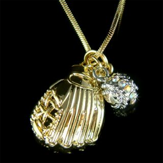 Baseball Softball Glove Team Sport w Swarovski Crystal Gold P Pendant