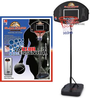 Large Basketball Full Size Backboard Stand Hoop Net Set Height 1 2M 2