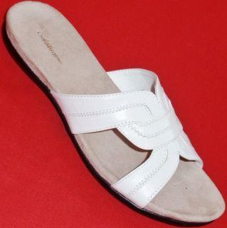 New Womens Croft Barrow Carla White Flats Slides Sandals Casual Dress