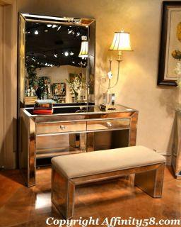 Silver Mirrored Vanity Dressing Table T2624 400 Bassett Mirror Co