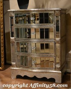 Silver Finish Mirrored Front Drawer Chest A1762 Bassett Mirror Co