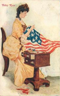 Patriotic Lovely Lady Betsy Ross Stitching Flag Sewing Box Cabinet
