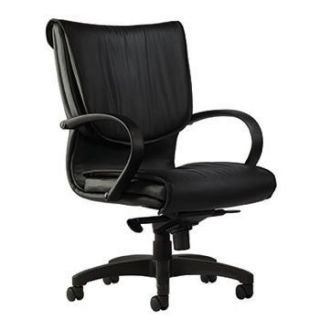 BLACK EXECUTIVE TOP GRAIN LEATHER CHAIR ON WHEELS OFFICE HOME DESK