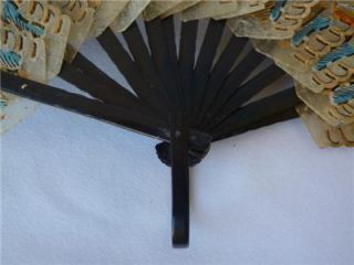 Balinese Folding FAN Hand Painted Pierced Bamboo Lacquer Frame ORNATE