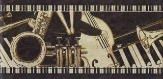 Jazz Band Music Instruments Peel Stick Border QA4W 0301