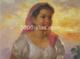Banga NG Tubig 18x24 Philippine Dalagang Filipina Art Oil Painting