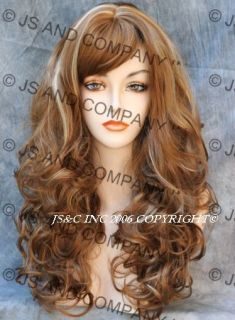 Long Layered Curly Wavy Blonde Mix Wig w Bangs Jsca 27 613
