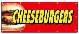 48x120 Cheeseburgers Banner Sign Hamburger Burger Cheese Signs Char