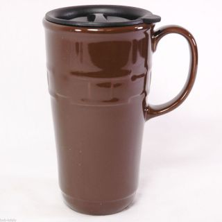 LONGABERGER BASKETS POTTERY CHOCOLATE BROWN TRAVEL MUG NEW IN BOX