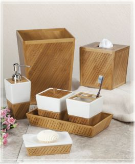 Design Spa Bamboo Ceramic Bath Bathroom Accessories Choice