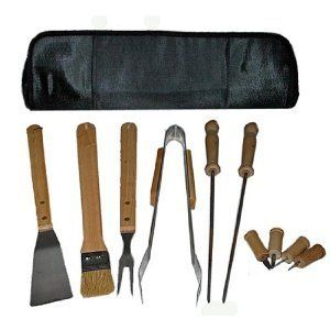 11 Piece Deluxe Barbeque Wood Tool Set BBQ Zipper Case Skewer Spatula