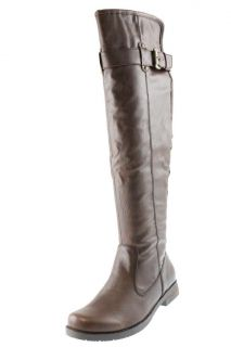 Bare Traps New Joclyn Brown Imitation Leather Buckle Knee High Boots
