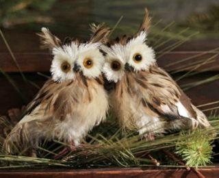 Pair (2) Fuzzy Floofy Brown Hooty Barn Owls Christmas Tree Ornaments