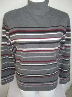 preview nwot croft barrow striped mock turtleneck in gray 1x