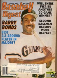 1993 Baseball Digest Barry Bonds San Francisco Giants