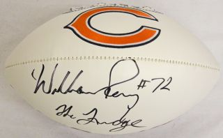 William Perry signed Chicago Bears logo football with The Fridge