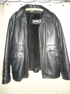 Size 44 Mens Black Leather Jacket by Schott Made in U s A