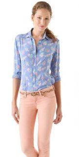 Tucker Gaby Basora A Little Flower Slim Fit Button Down Silk Shirt Top